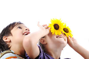 Little brother and sister holding sunflower