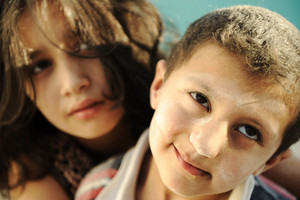 Little brother and sister, poverty , bad condition