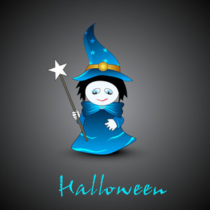 Little Cute Fairy On Grey Background For Halloween Night