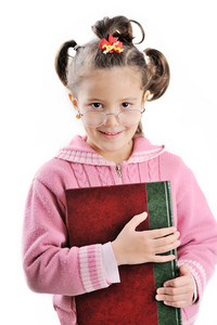 Little girl holding book
