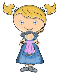 Little Girl Playing With Doll - Vector Cartoon Illustration