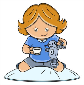 Little Girl Playing With Robot - Vector Cartoon Illustration