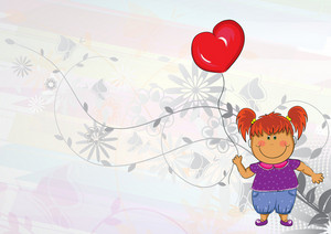 Little Girl With Balloon Vector Illustration