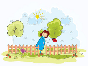 Little Girl With Trees Vector Illustration