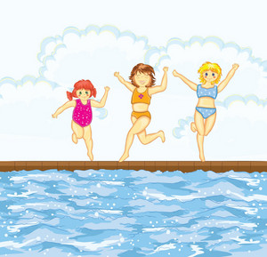 Little Girls At The Pool Vector Illustration
