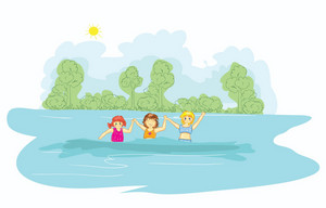 Little Girls In The Water Vector Illustration