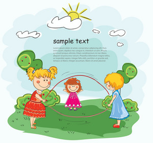 Little Girls Playing Vector Background