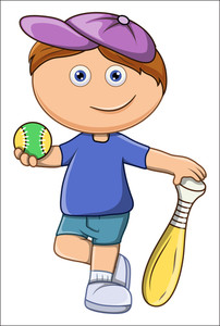 Little Kid Playing Baseball - Vector Cartoon Illustration
