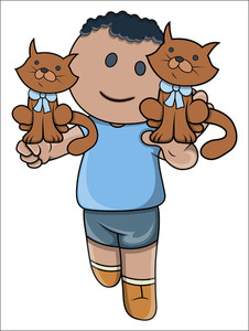 Little Kid Playing With Kittens - Vector Cartoon Illustration
