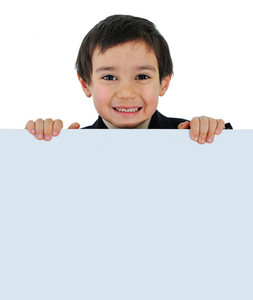 Little kid with banner for your text or picture