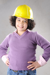 LIttle master girl engineer with helmet