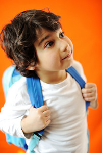 Little school cute boy with backpack
