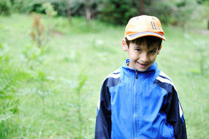 Little scouts in forest discovering nature