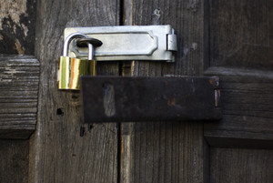 Lock key on vintage wooden door