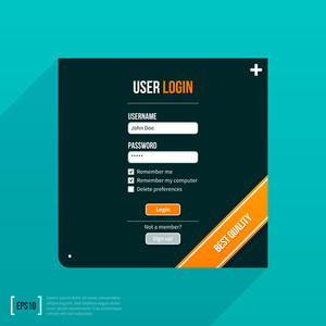 Login Form In A Black Square On Turquoise Background. Eps10.