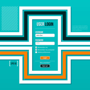 Login Form With Flat Lines On Turquoise Background. Eps10.
