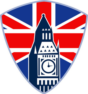 London Big Ben Clock Tower British Flag