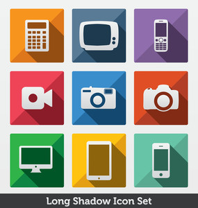 Long Shadow Icon Set | Trendy Design | Fashionable Icons | Modern Minimal Look | Clean Design Concept | Smart Devices