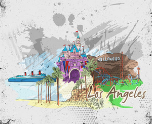 Los Angeles Doodles Vector Illustration