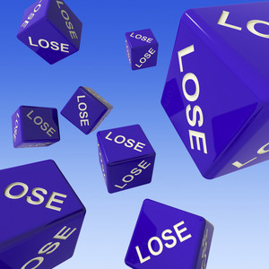 Lose Dice Background Showing Failure