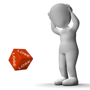 Lose Dice Representing Defeat Failure And Loss