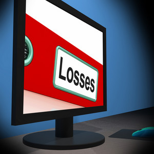 Losses On Monitor Shows Financial Crisis