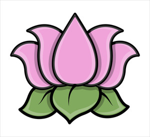 Lotus Flower - Cartoon Vector Illustration