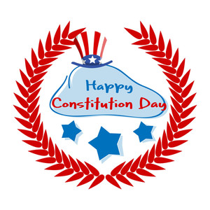 Lourel Wreath Constitution Day Vector Illustration