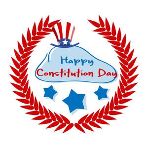 Lourel Wreath Constitution Day Vector Illustration