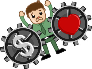 Love And Money - Vector Character Cartoon Illustration