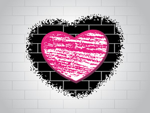 Love Background With Brick Design
