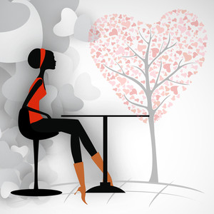 Love Background With Silhouette Of A Girl Sitting Under The Love Tree