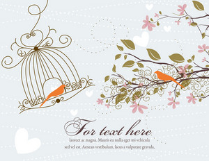 Love Bird With Floral Vector Illustration