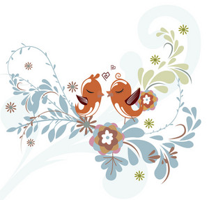 Love Birds Vector Background