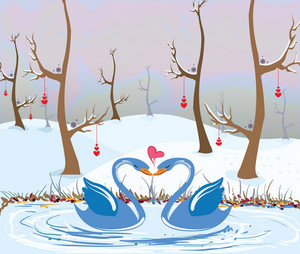 Love Birds Vector Illustration