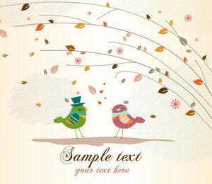 Love Birds With Floral Vector Illustration