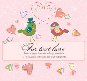 Love Birds With Frame Vector Illustration
