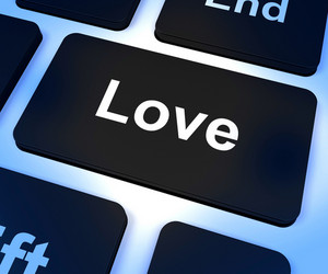Love Computer Key Showing Loving And Romance For Valentines