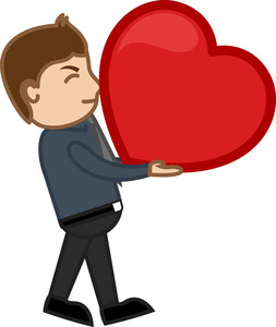 Love Concept - Heavy Heart - Cartoon Character Man
