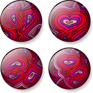 Love Glossy Round Vector Buttons