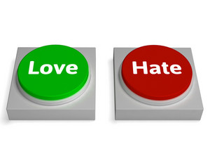 Love Hate Buttons Shows Appraise Or Hateful