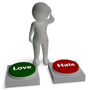 Love Hate Buttons Shows Loving And Hating