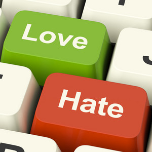 Love Hate Computer Keys Showing Emotion Anger And Conflict