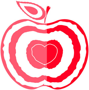 Love Heart Apple Shape