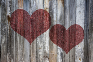 Love heart on vintage wood background texture