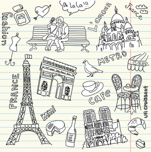 Love In Paris Doodles-