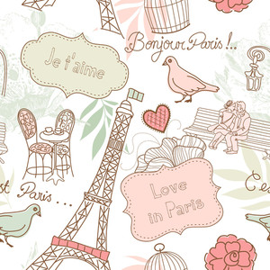 Liebe in Paris. Seamless Pattern