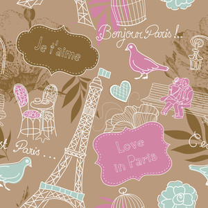 Love In Paris. Seamless Pattern