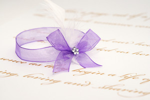 Love Letter And Purple Ribbon