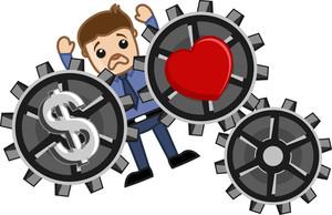 Love & Money Concept - Burden - Business Cartoons Vectors